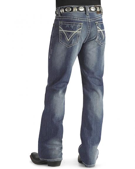 Rock & Roll Cowboy Heavy Bean Stitch V Double Barrel Jeans