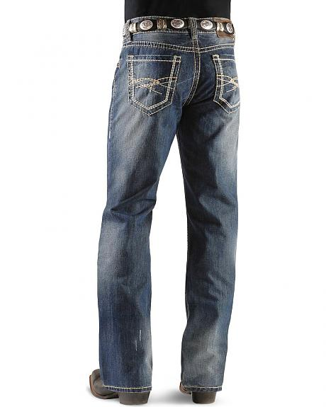 Rock & Roll Cowboy Double Barrel Multi Color Abstract Pocket Jeans