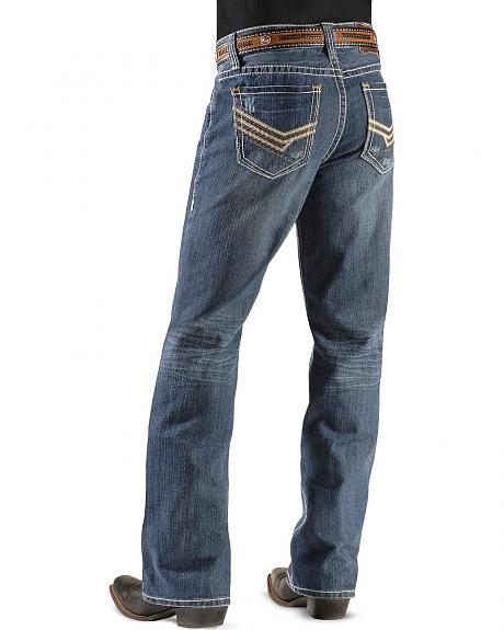 Rock & Roll Cowboy Jeans - Double Barrel Bean & Zig Zag Embroidered Jeans