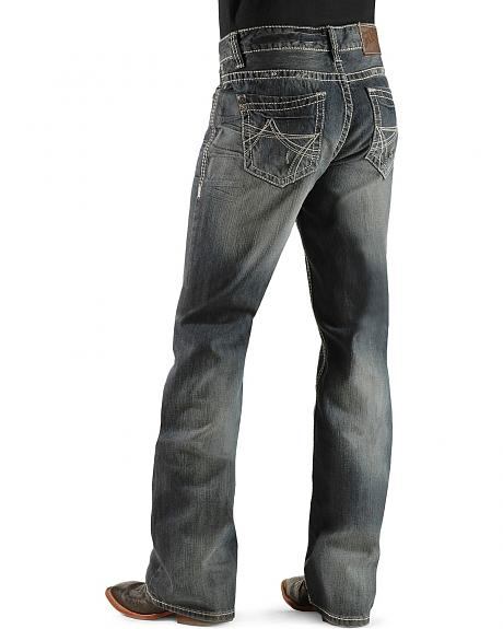 Rock & Roll Cowboy Dark Wash Embroidered Relaxed Fit Boot Cut Jeans