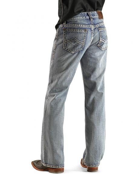 Rock & Roll Cowboy Diamond Shape Stitched Pockets Double Barrel Jeans
