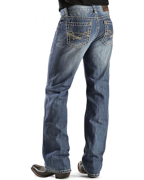 Rock & Roll Cowboy Abstract Pocket Double Barrel Relaxed Fit Bootcut Jeans