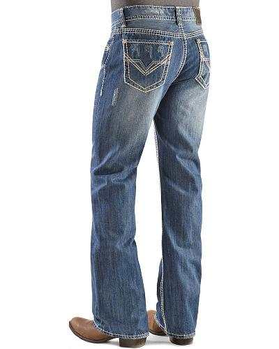 "Rock & Roll Cowboy Double Barrel ""V"" Pocket Medium Wash Jeans Western & Country M0D9553"