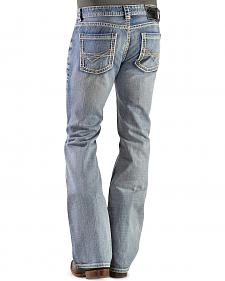 Rock & Roll Cowboy Pistol Bootcut Abstract Stitched Pocket Jeans