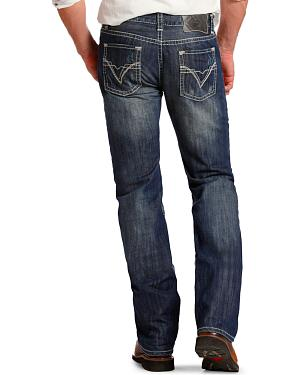 "Rock and Roll Cowboy Pistol Regular Fit ""V"" Jeans - Straight Leg"