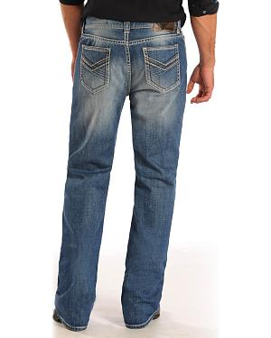 Rock and Roll Cowboy Double Barrel Thin Line Pocket Jeans - Straight Leg