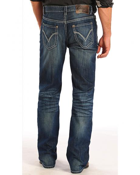Rock and Roll Cowboy Double Barrel Ivory Pocket Jeans - Straight Leg