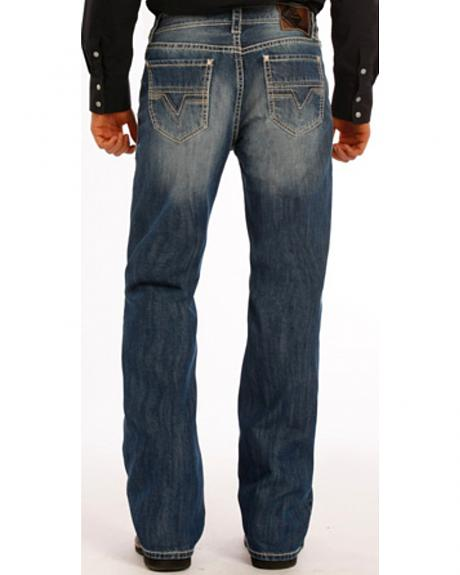 Rock and Roll Cowboy Double Barrel Abstract V Jeans - Boot Cut