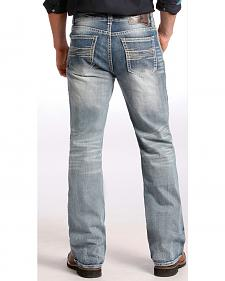 Rock and Roll Cowboy Light Wash Double Barrel Relaxed Bootcut Jeans