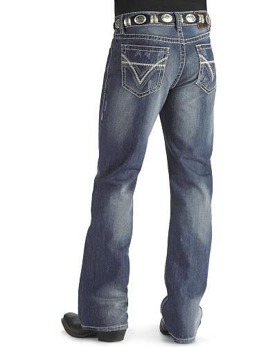 Rock & Roll Cowboy Heavy Bean Stitch V Double Barrel Jeans Big & Tall Western & Country M0D1612T