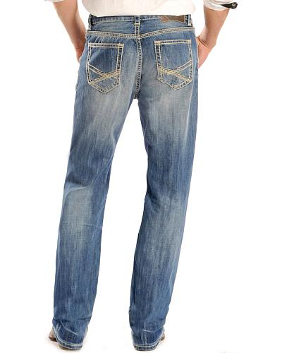 Rock & Roll Cowboy Double Barrel Straight Khaki Stitched Jeans Tall Western & Country MOS1581T