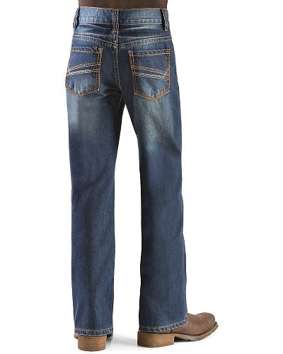 Red Ranch Boys Stonewash Stitched Pocket Jeans 8-16 Western & Country B201 8-16