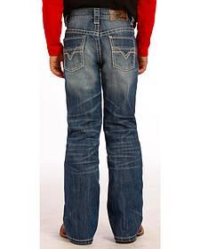 """Rock and Roll Cowboy Boys' Medium Wash """"V"""" Jeans"""