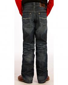 "Rock and Roll Cowboy Boys' Dark Wash Running ""V"" Jeans"