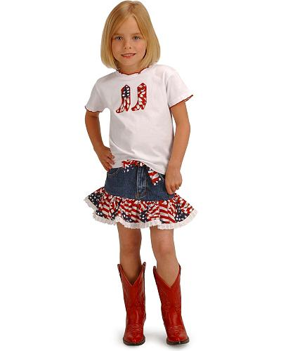 Girls Cowgirl Stars and Stripes Top & Skirt Set 2T-7 Western & Country 31D
