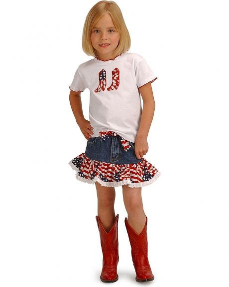 Girls' Cowgirl Stars and Stripes Top & Skirt Set - 2T-7