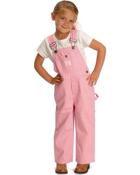 Key Industries Toddler Girls' Pink Striped Overalls - 2T-4T