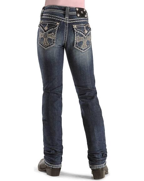 Miss Me Girls' Rhinestone Cross Boot Cut Jeans - 7-14
