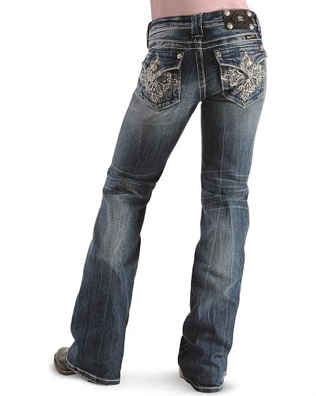 Miss Me Girls' Diamond Embroidered Jeans - 7-14