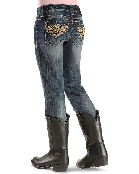 Miss Me Girls' Gold-Tone Embroidery Skinny Jeans - 7-14