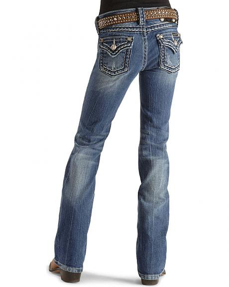 Miss Me Girls' Stitched Flap Pocket Jeans - 7-14