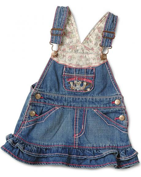 Wrangler Infant Girls' Ruffled Denim Overall Jumper - 6-18M