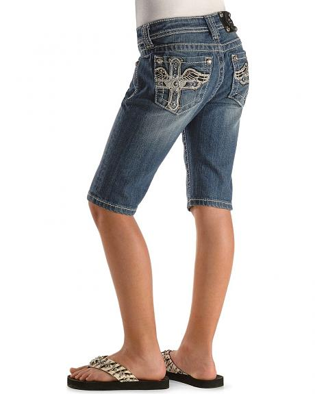 Miss Me Girls' Cross & Wings Bermuda Shorts - 7-14