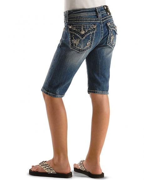Miss Me Girls' Butterfly Flap Bermuda Shorts - 7-14