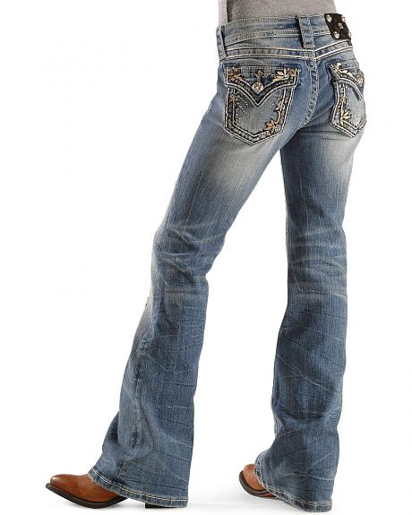 Miss Me Girls' Leaf Applique Boot Cut Jeans - 7-14