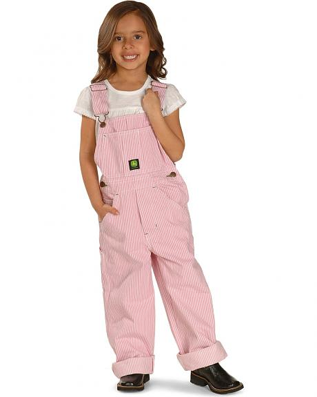 John Deere Girls' Pink Striped Overalls - 4-6X