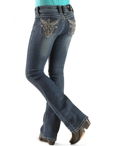 Grace In LA Girls' Wing Embroidered Pocket Jeans - 7-16