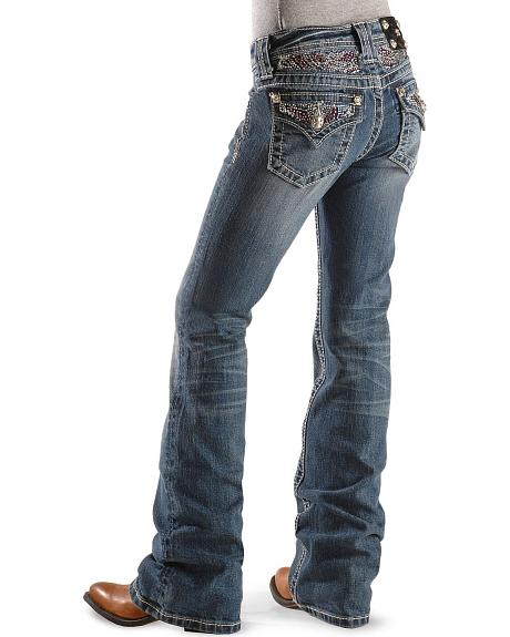 Miss Me Girls' Sparkling Rhinestone Back Pocket Boot Cut Jeans - 7-14
