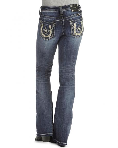 Miss Me Girls' Embellished Horseshoe & Logo Pocket Jeans - 7-14