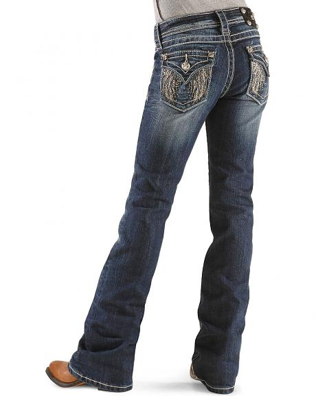 Miss Me Girls' Feathered Wing Embroidery Boot Cut Jeans - 7-14