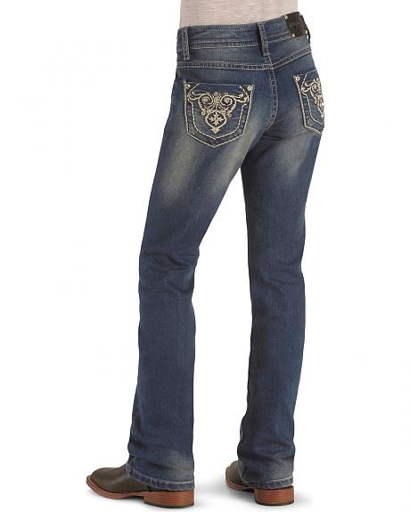 Girls' Rhinestone Pockets Stonewash Denim Jeans - 4-6X