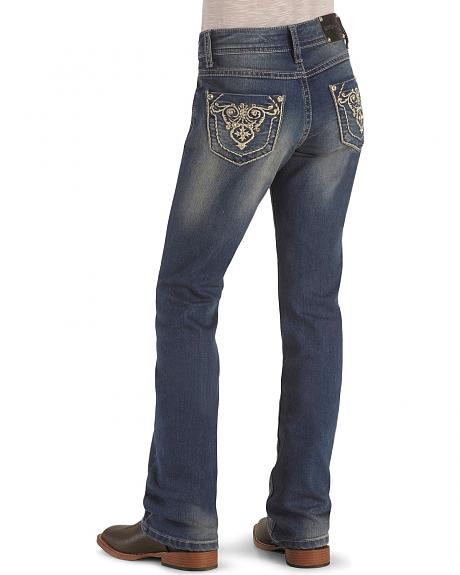 Girls' Rhinestone Pockets Stonewash Denim Jeans - 7-14
