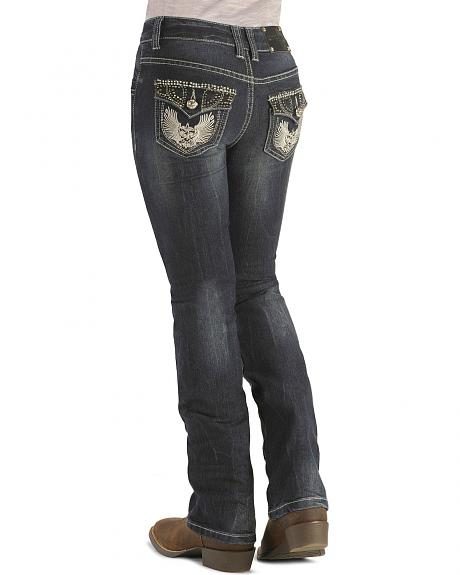 Girls' Studded Flap Pockets Dark Denim Jeans - 4-6X
