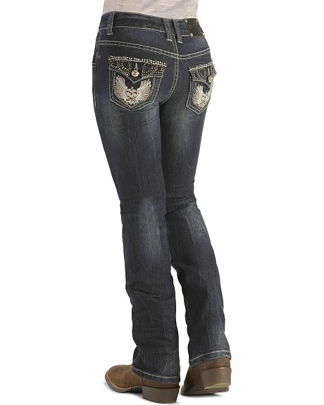 Girls' Studded Flap Pockets Dark Denim Jeans - 7-14