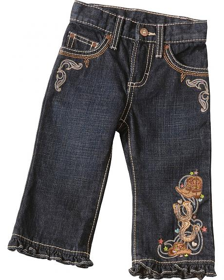 Wrangler Infant Girls' Embroidered Ruffle Jeans - 6M - 18M