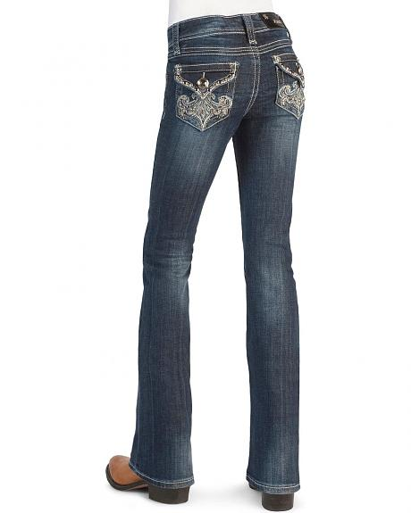 Grace In LA Girls' Rhinestones & Studs Embroidered Jeans - 7-16