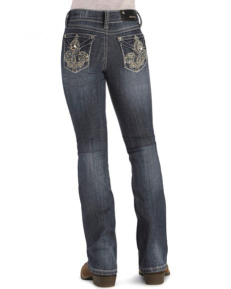 Grace in LA Girls' Rhinestone Jeans Embroidered Back Pocket Design - 7-16