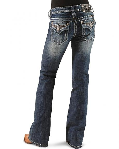 Miss Me Girls' Frayed Rhinestone Flap Pocket Jeans - Rhinrstone Flap Pkt - 7-14