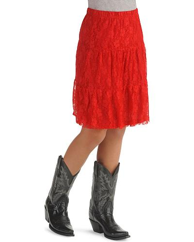 Girls Tiered Lace Overlay Skirt Western & Country 494.01