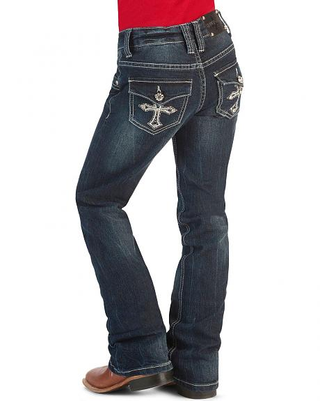 Girls' Rhinestone Embroidered Cross Pocket Jeans - 4-6X