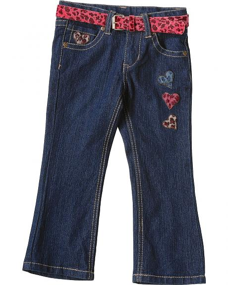 Leopard Print Hearts & Belt Toddler Jeans - 2T- 4T