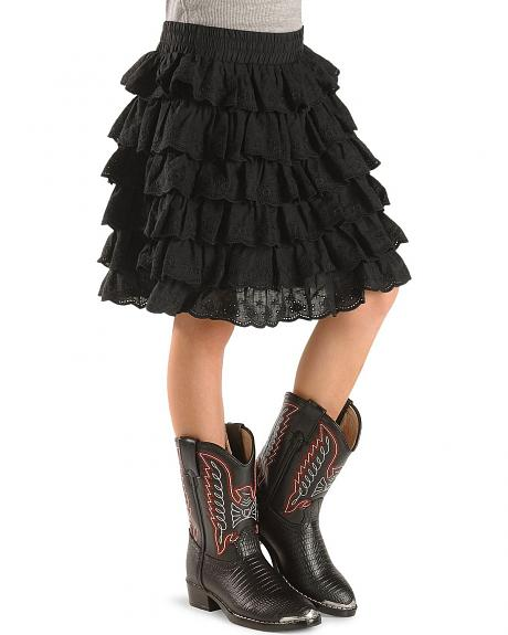 Girls' Tiered Black Ruffle Skirt