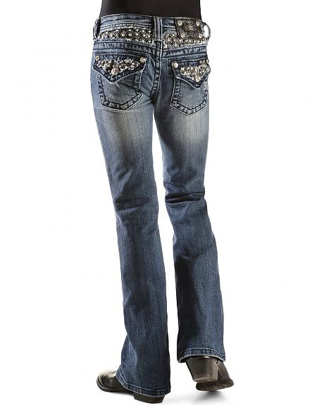 Miss Me Girls' Pearl Studded Inset Jeans - 7-14