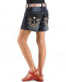 Rodeo Girl Girls' Denim Embroidered Shorts - 4-6X
