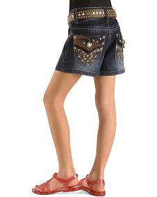 Rodeo Girl Girls' Rhinestone & Studded Denim Shorts - 4-6X