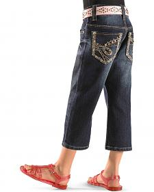 Rodeo Girl Girls' Denim Embroidered Capris 4-6X